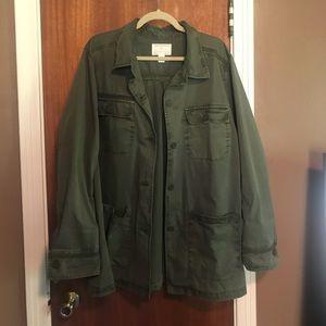 Green Caslon utility jacket.